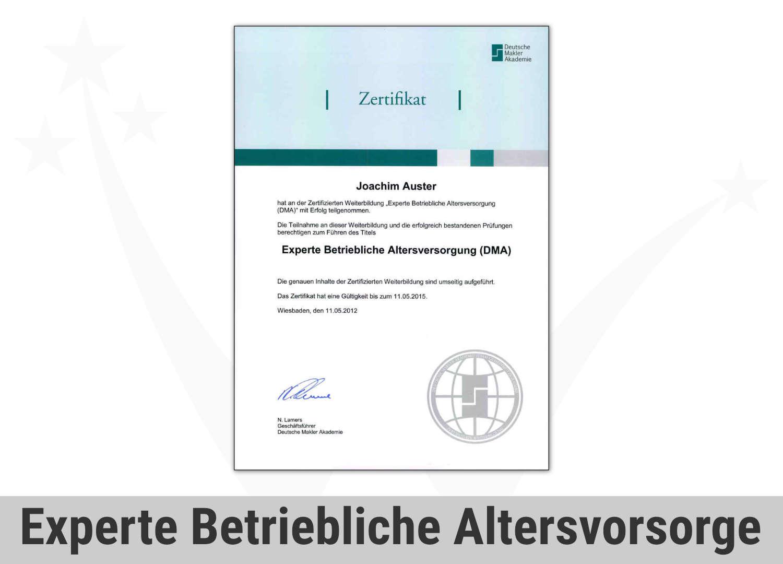Zert Finance Experte Bav Betriebliche Altersvorsorge Joachim Aus