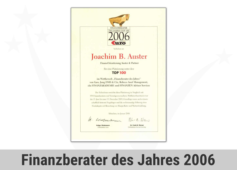 Zert Finance Finanzberater Des Jahres 2006 Joachim Auster