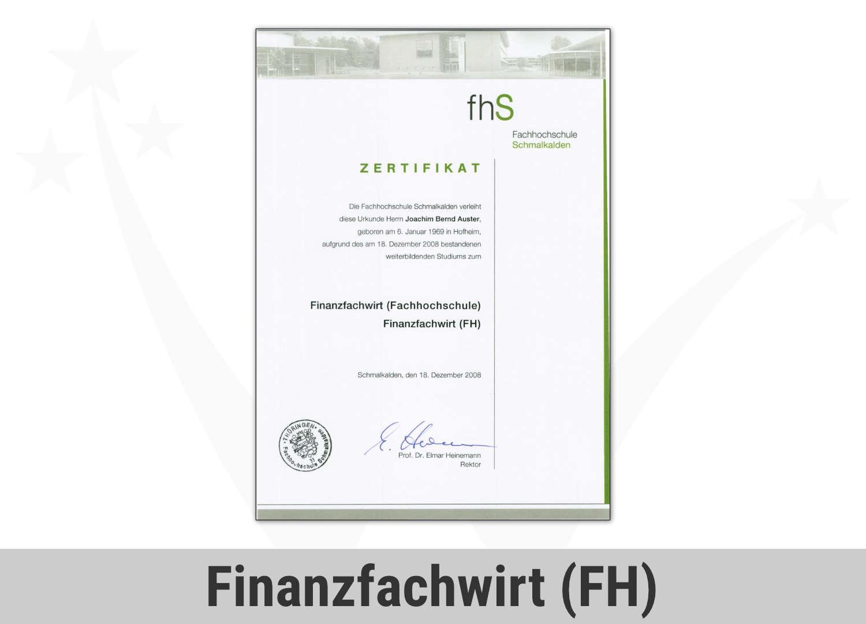 Zert Finance Finanzfachwirt Joachim Auster