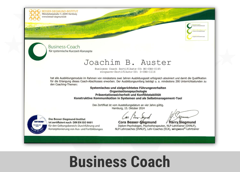 Zertifikat Business Coach - Joachim Auster
