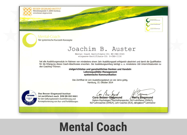 Zertifikat Mental Coach - Joachim Auster